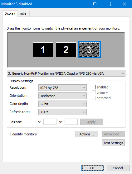 Fine Grained X/Y coordinate control for monitor positions